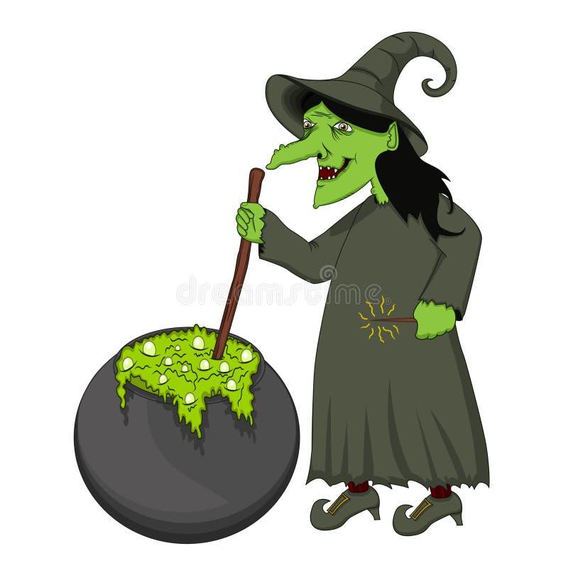 Zielonej czarownicy kulinarna kreskówka royalty ilustracja