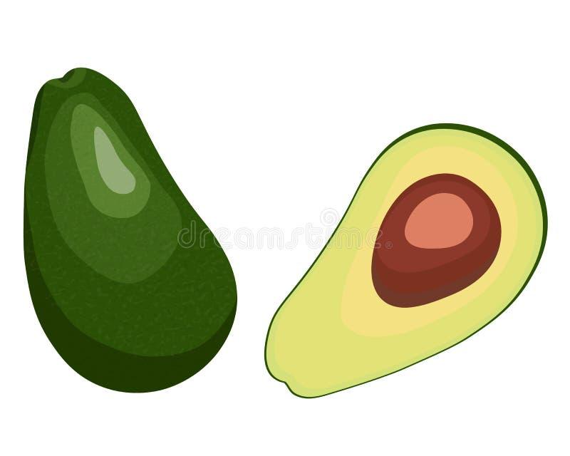 Zielonej dojrzałej avocado płaskiej wektorowej ikony ilustracyjny cały, przyrodni i royalty ilustracja