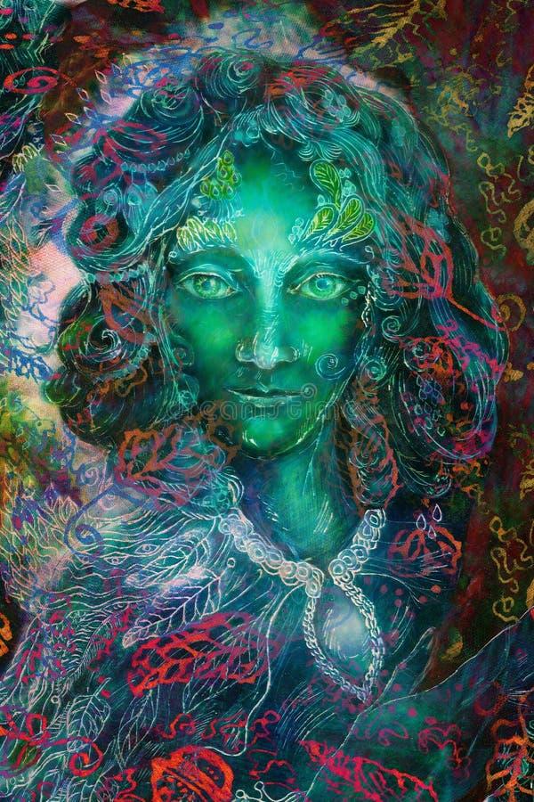 Zielonej fantazi czarodziejski duch z liści ornamentami, ilustracyjny kolaż royalty ilustracja