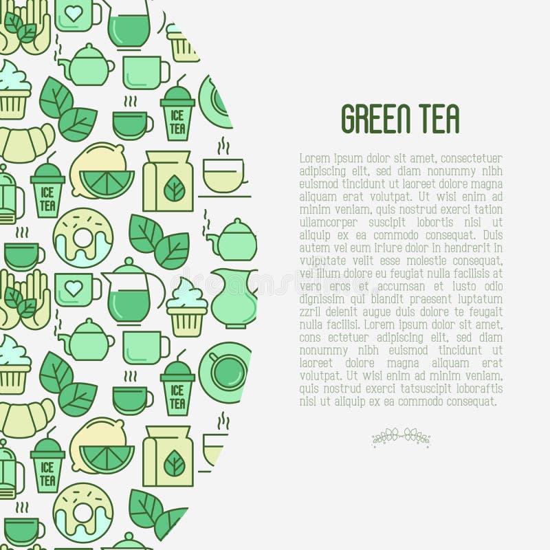 Zielonej herbaty ceremonii pojęcie z cienkimi kreskowymi ikonami royalty ilustracja