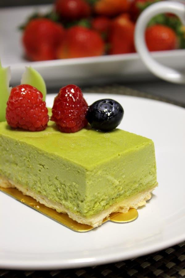 Zielonej herbaty cheesecake obraz stock