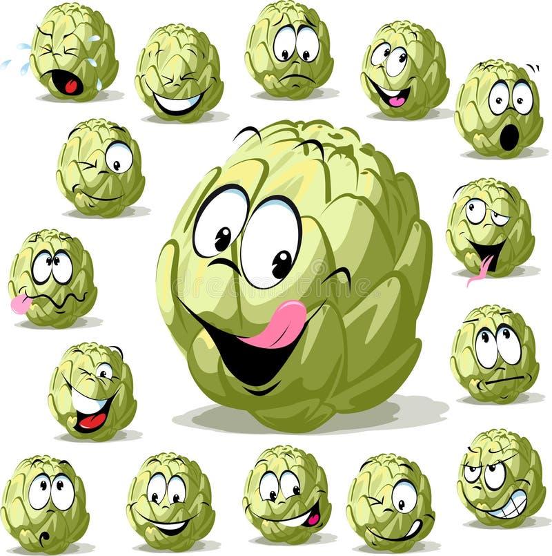 Zielonej karczoch kreskówki charakteru śmieszny warzywo odizolowywający na bielu ilustracja wektor
