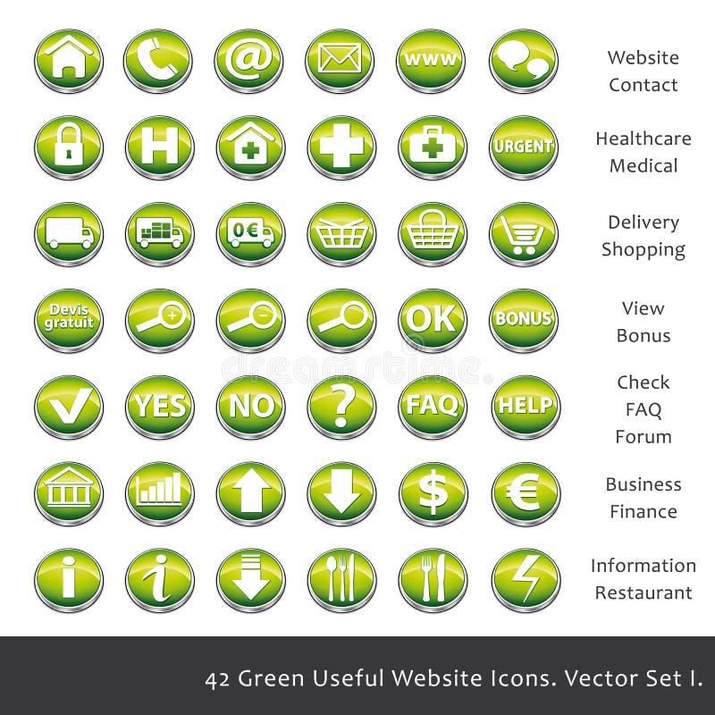42 Zielonej pożytecznie strony internetowej ikony royalty ilustracja