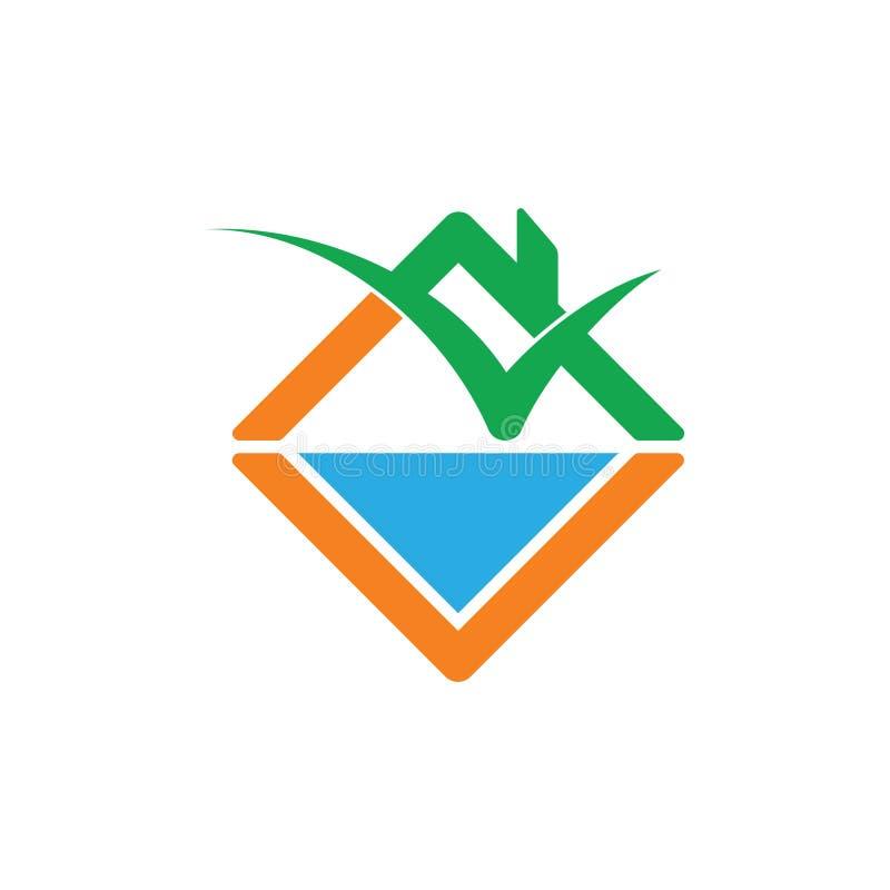 Zielonej rośliny domu wody natury logo wektor ilustracji