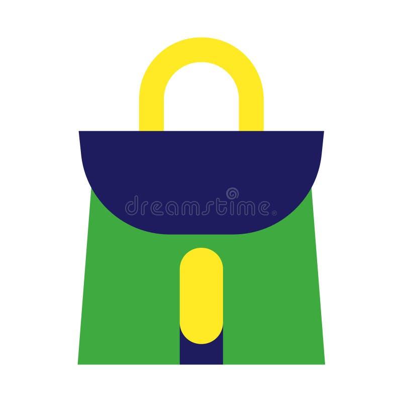 Zielonej torby geometryczna ilustracja odizolowywająca na tle ilustracja wektor