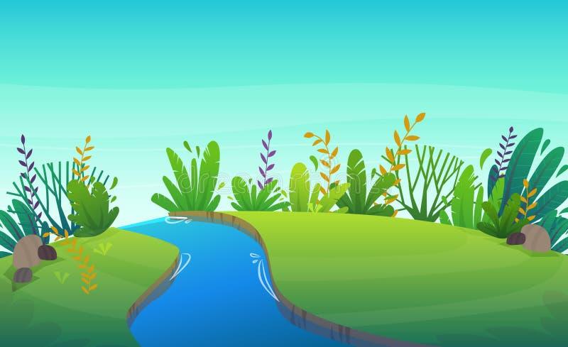 Zielonej trawy gazonu rzeka przy drzewami i krzakami parkowymi lub lasowymi kwitnie scenerii t?o, natura gazonu ekologii pokoju w ilustracji