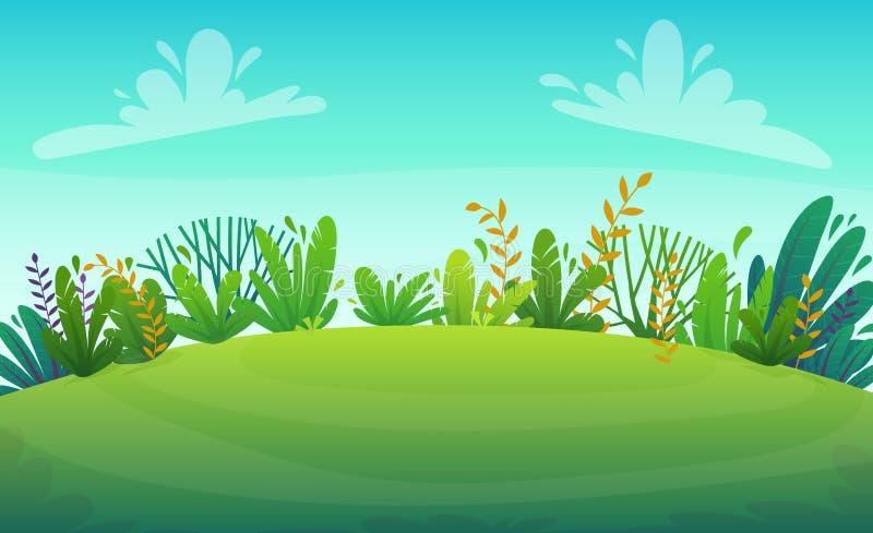 Zielonej trawy gazonu rzeka przy drzewami i krzakami parkowymi lub lasowymi kwitnie scenerii t?o, natura gazonu ekologii pokoju w royalty ilustracja