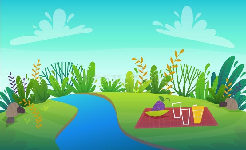 Zielonej trawy grilla grill przy drzewami i krzakami parkowymi lub lasowymi kwitnie scenerii t?o, natura gazonu ekologii pokoju w ilustracja wektor