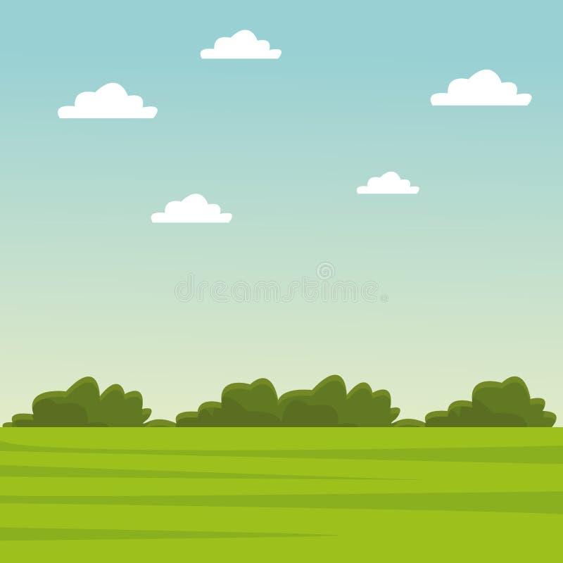 Zielonej trawy i nieba krajobraz royalty ilustracja