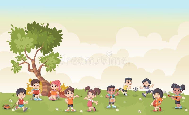 Zielonej trawy krajobraz z śliczną kreskówką żartuje bawić się royalty ilustracja