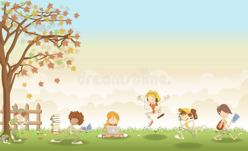 Zielonej trawy krajobraz z kreskówka nastolatka uczniami ilustracji