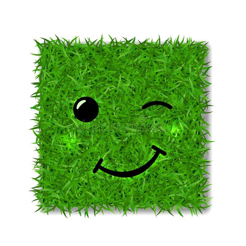 Zielonej trawy kwadrata pole 3D Twarzy mrugnięcia uśmiech Smiley emoticon trawiasta ikona, odosobniony biały tło Szczęśliwy znak  royalty ilustracja