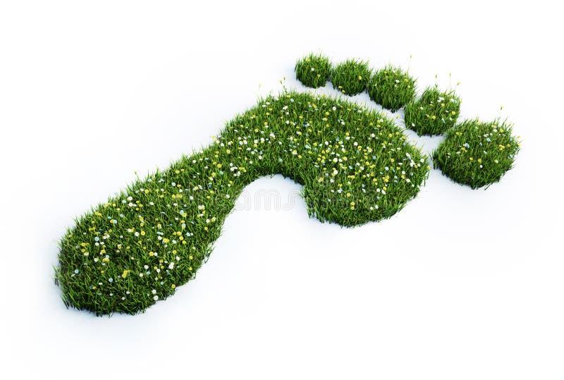 Zielonej trawy odcisk stopy - ekologii 3D ilustracja ilustracja wektor