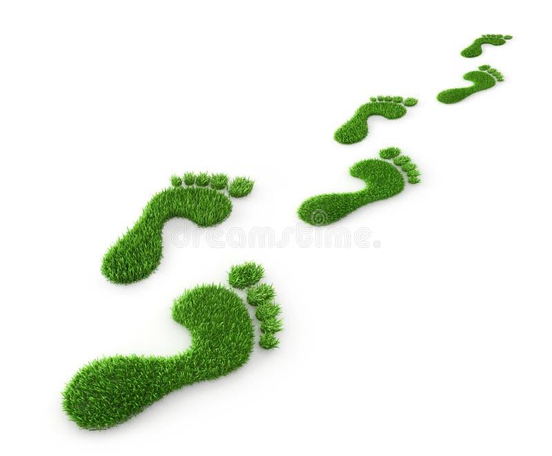 Zielonej trawy odciski stopi - ekologii 3D ilustracja royalty ilustracja