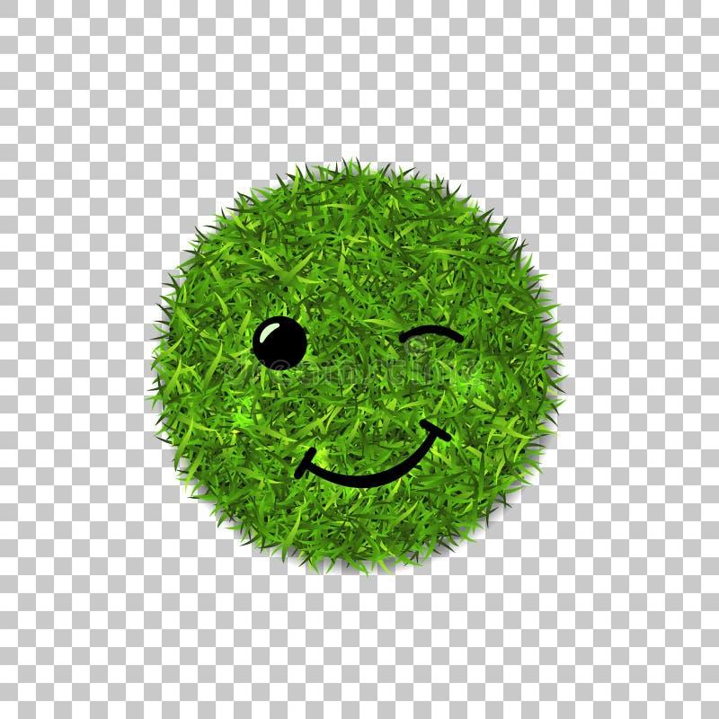 Zielonej trawy okręgu pole 3D Twarzy mrugnięcia uśmiech Smiley emoticon trawiasta ikona, odosobniony biały przejrzysty tło royalty ilustracja