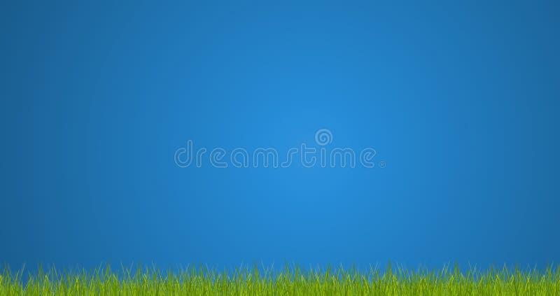 Zielonej trawy ostrza trawa 3d-illustration ilustracji