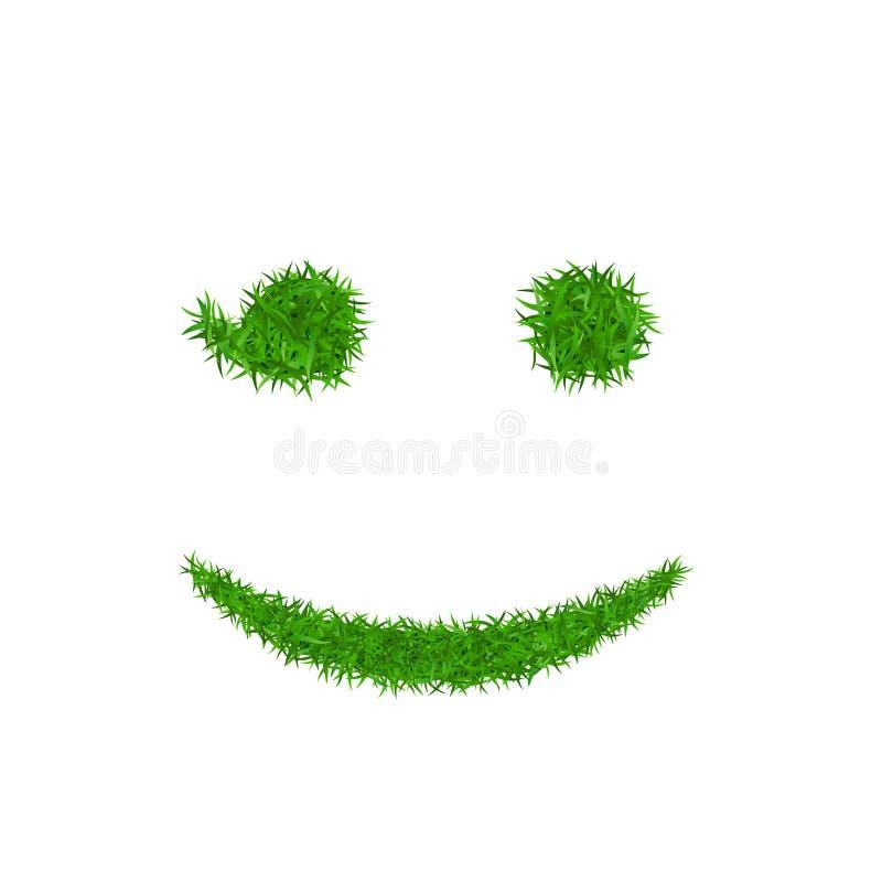 Zielonej trawy twarzy mrugnięcia uśmiech Smiley emoticon trawiasta ikona, odosobniony biały tło Szczęśliwy uśmiechnięty znak Symb ilustracji