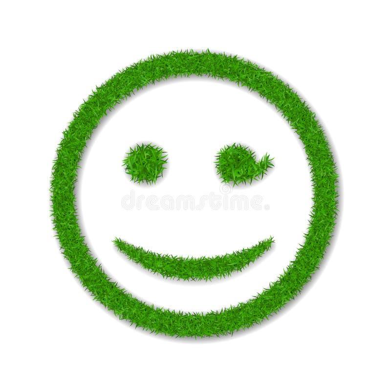Zielonej trawy twarzy mrugnięcia uśmiech Smiley emoticon trawiasta ikona, odosobniony biały tło Szczęśliwy uśmiechnięty znak Symb royalty ilustracja