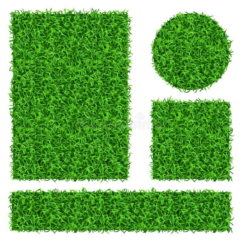 Zielonej trawy wektorowi sztandary ustawiający ilustracji