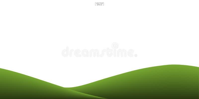 Zielonej trawy wzgórza tło odizolowywający na bielu ilustracji