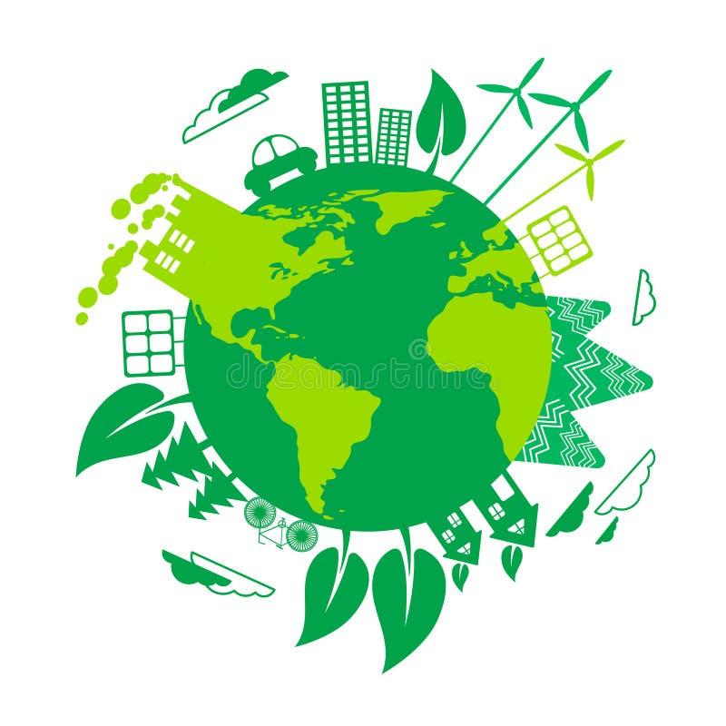 Zielonej ziemi Eco kuli ziemskiej silnika wiatrowego energii słonecznej panel ilustracji