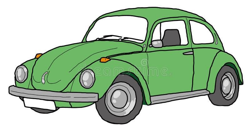 Zielony ścigi kreskowej sztuki retro samochód ilustracja wektor
