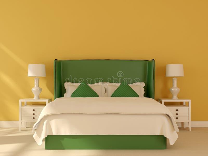 Zielony łóżko na żółtym tle ilustracji