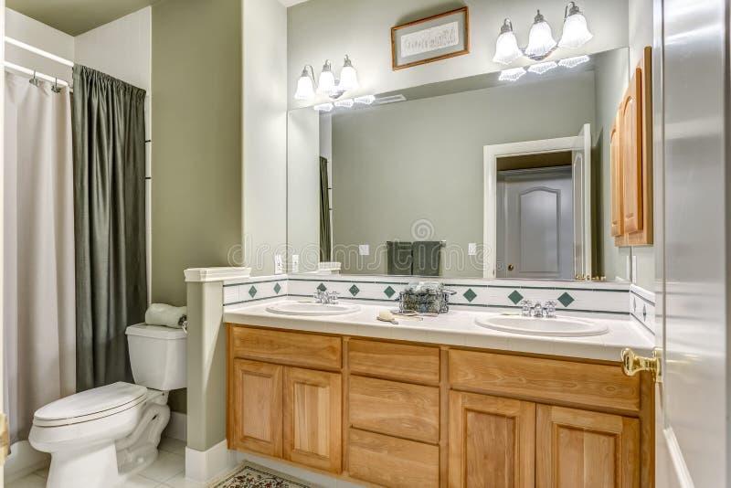 Zielony łazienka projekt w luksusowym dom na wsi obrazy royalty free