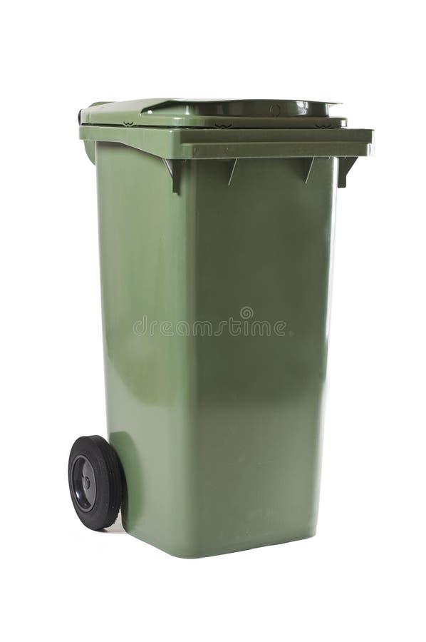 Zielony śmieciarski kosz fotografia stock