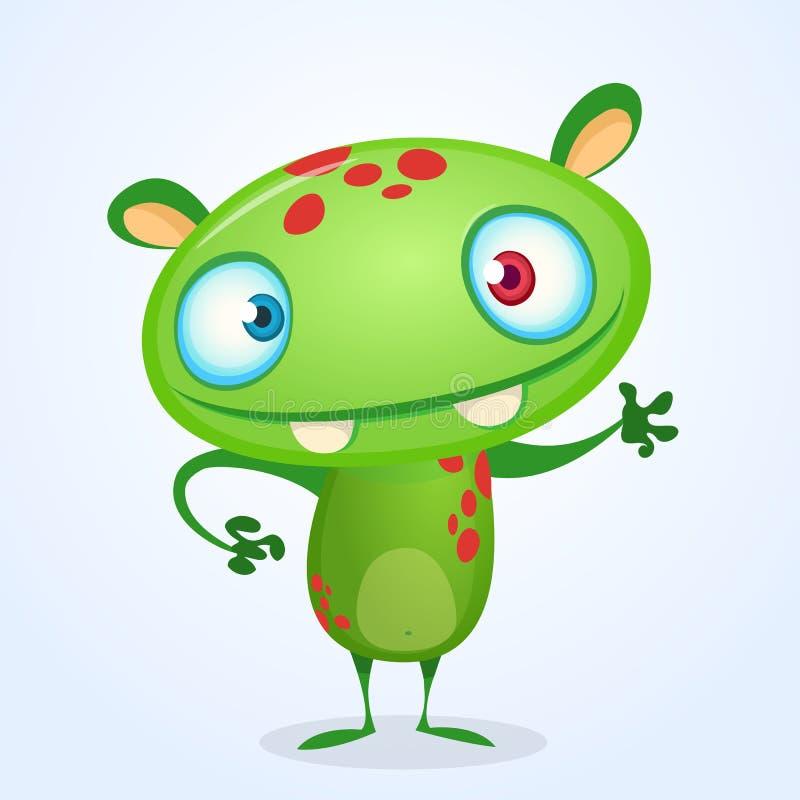Zielony śmieszny szczęśliwy kreskówka potwór Zielony wektorowy obcy charakter Halloweenowy projekt royalty ilustracja