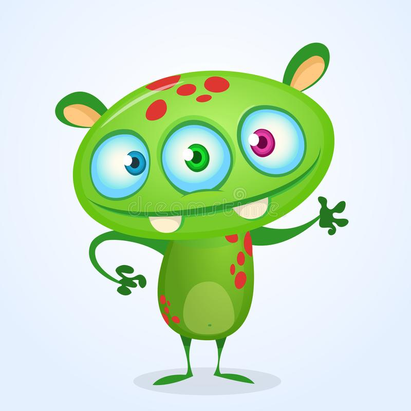 Zielony śmieszny szczęśliwy kreskówka potwór Zielony wektorowy obcy charakter z trzy oczami Halloweenowy projekt royalty ilustracja