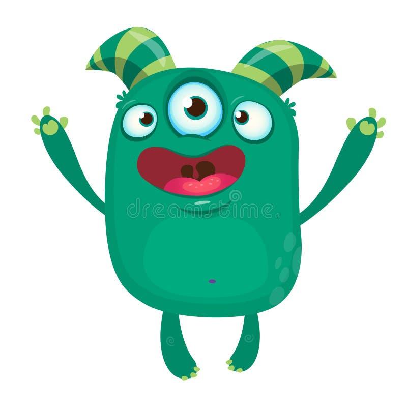 Zielony śmieszny szczęśliwy kreskówka potwór Zielony wektorowy obcy charakter z trzy oczami Halloweenowy projekt ilustracja wektor
