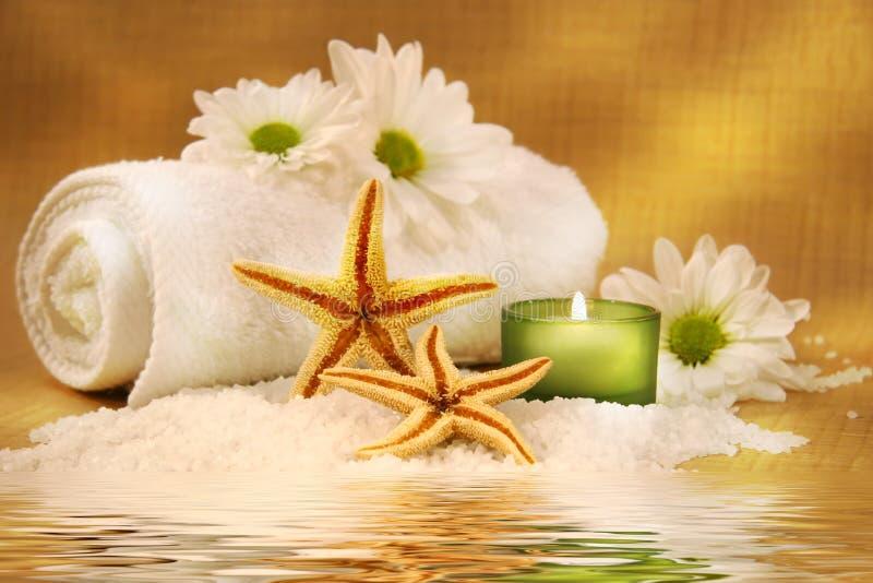 zielony świecą ręcznik fotografia stock