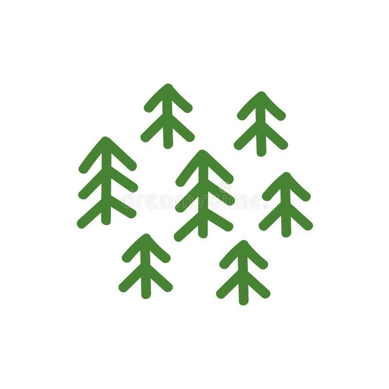 Zielony ?wierkowy lasowy Kartograficzny desygnat Ro?liny ikona lub logo Ekologii natura i czysto?? Park Narodowy ilustracji