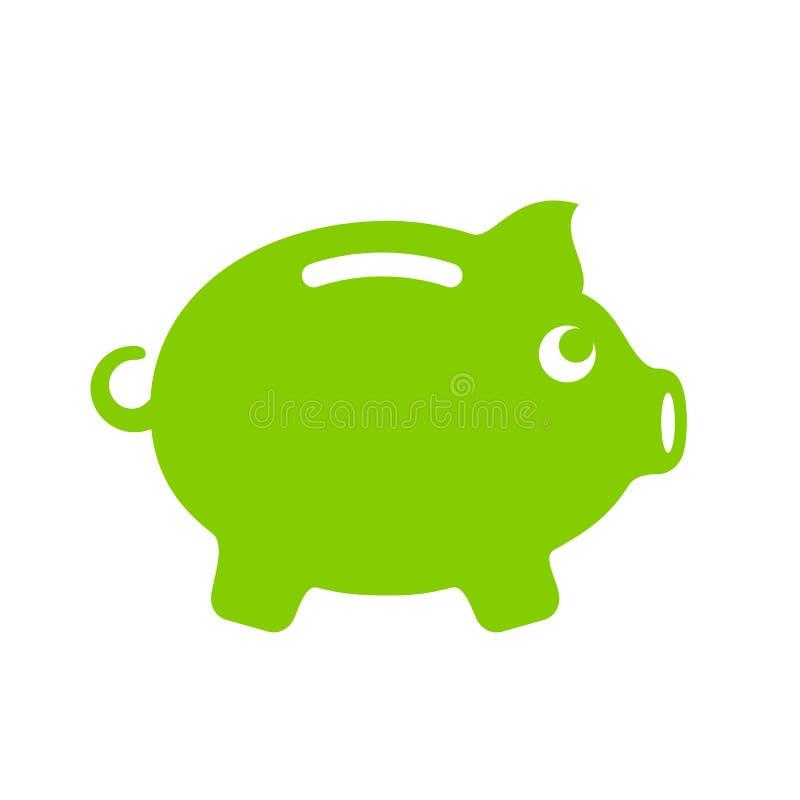 Zielony świniowaty pieniądze banka emblemat ilustracja wektor