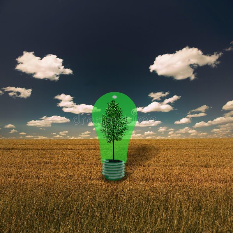 zielony żarówki drzewo ilustracji