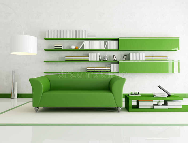 zielony żywy izbowy biel ilustracja wektor