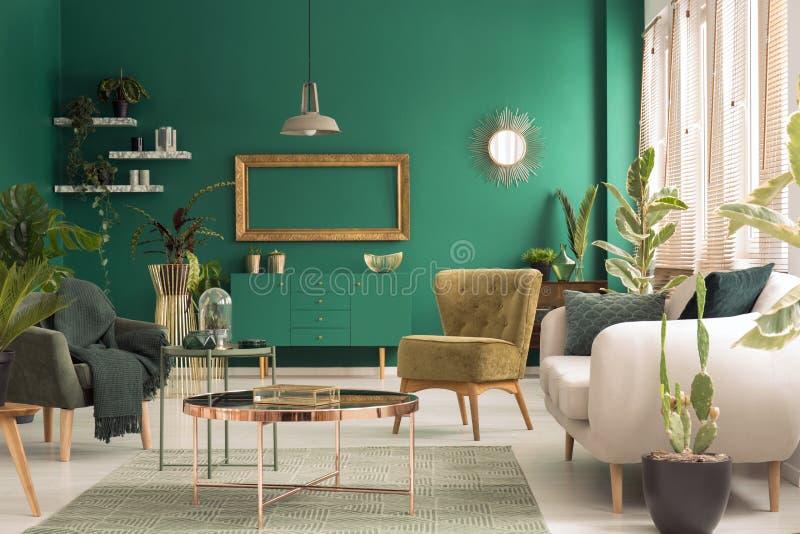 Zielony żywy izbowy wnętrze fotografia royalty free