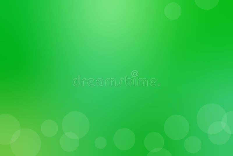 Zielony abstrakcjonistyczny gradientowy tło z lekkimi białymi okręgami wektor ilustracji