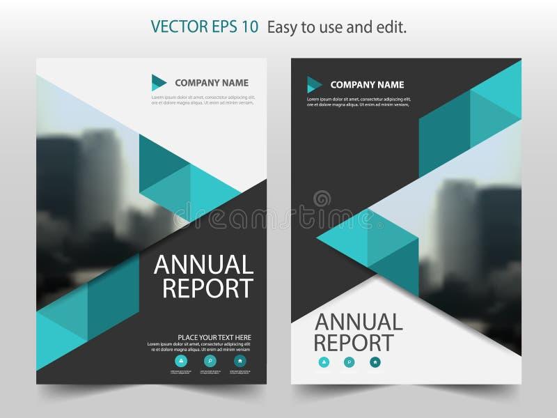 Zielony abstrakcjonistyczny trójboka sprawozdania rocznego broszurki projekta szablonu wektor Biznesowych ulotek magazynu infogra royalty ilustracja