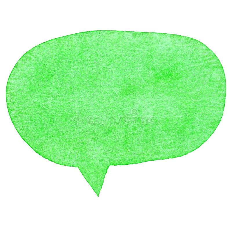 Zielony akwareli mowy bąbel ilustracji