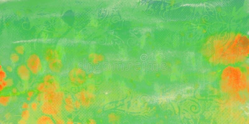 Zielony akwareli tło z pomarańczowymi plamami royalty ilustracja