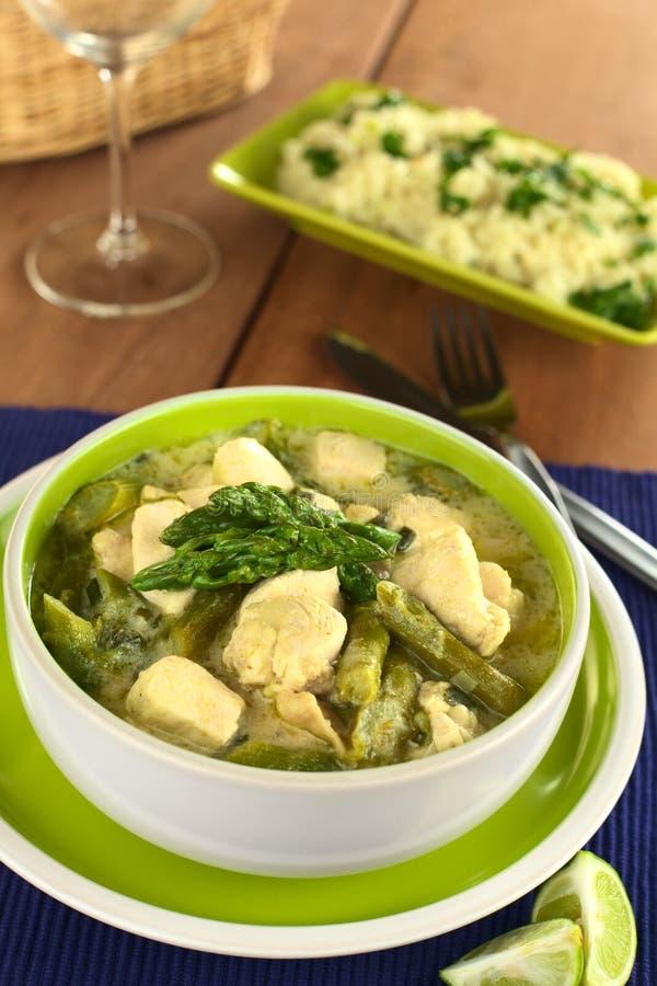 Zielony asparagusa i kurczaka Fricassee zdjęcie stock