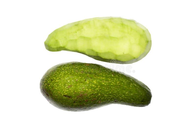 Zielony Avocado Avocado cięcie w dwa połówki fotografia stock