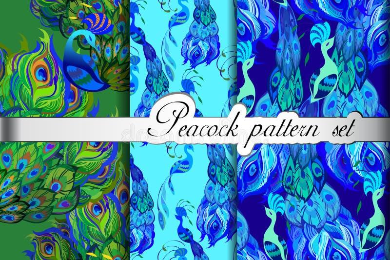 Zielony błękitny paw upierza abstrakcjonistycznych bezszwowych wzory ustawiających, wektorowa ilustracja royalty ilustracja