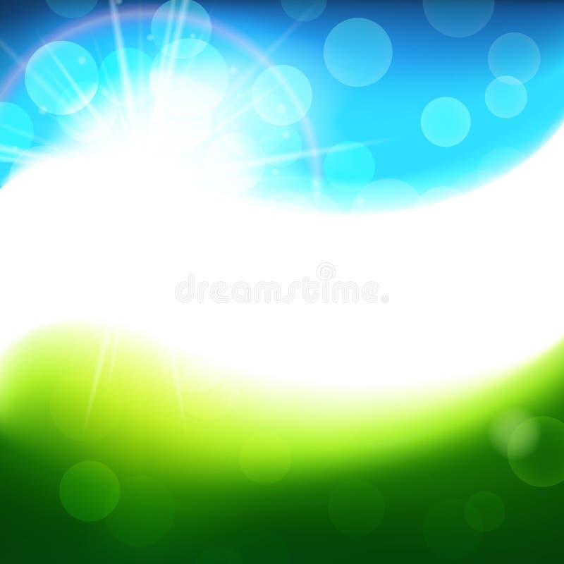 Zielony błękitny wektorowy pogodny tło, jaskrawa wiosna i lata abstrakcjonistyczny tło, przestrzeń dla teksta ilustracja wektor