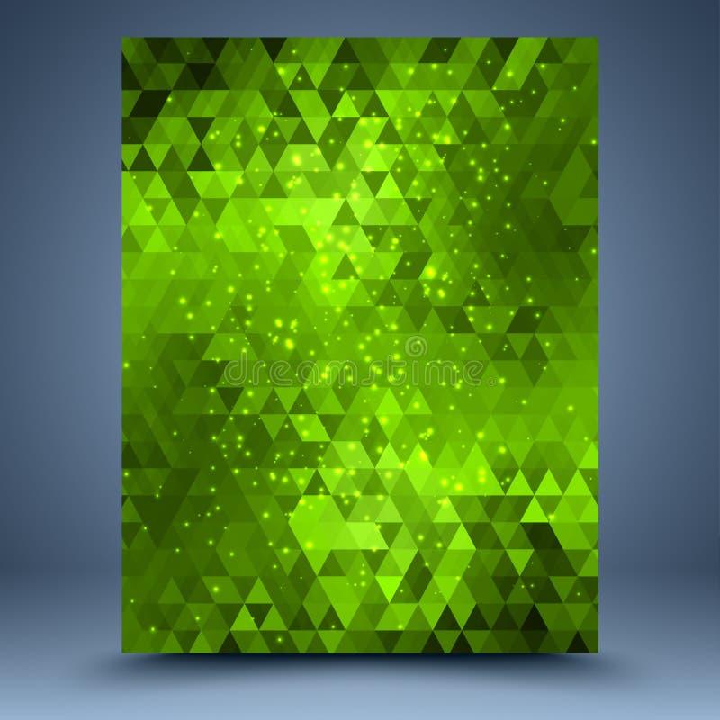 Zielony błyskotliwości mozaiki szablon ilustracja wektor