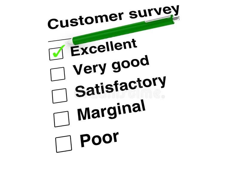 Zielony balowy pióro ustawia ocenę przy znakomitym na klienta satisfact ilustracja wektor