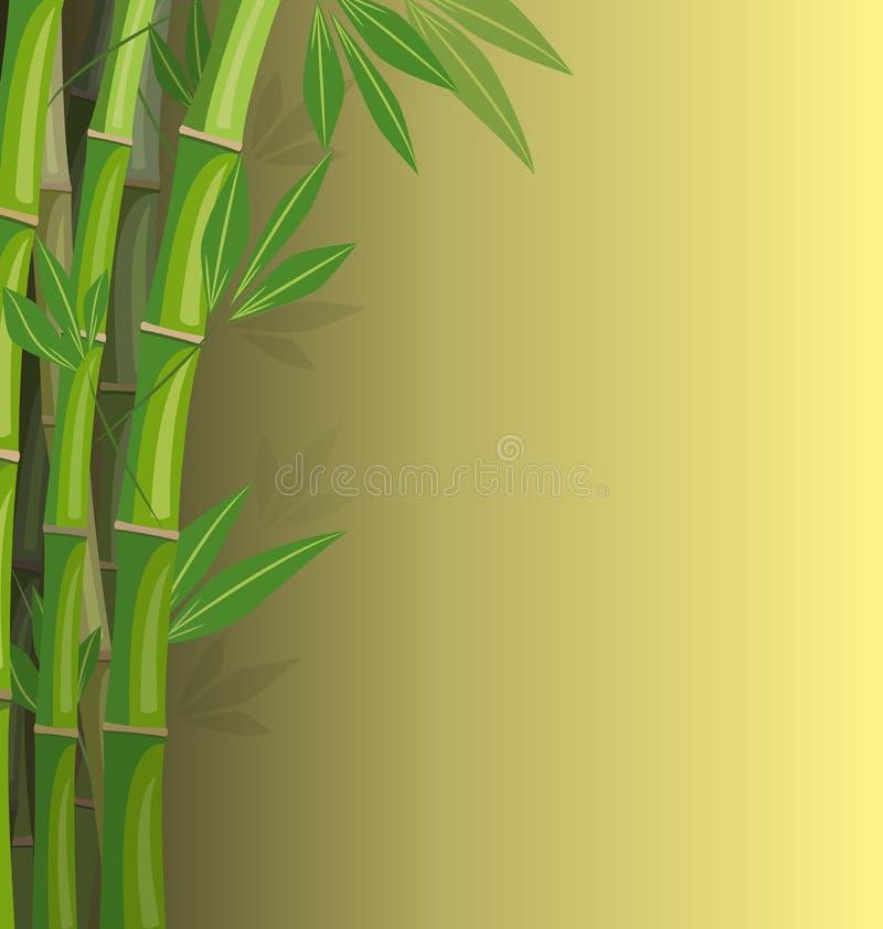 Zielony bambus na żółtym tle royalty ilustracja