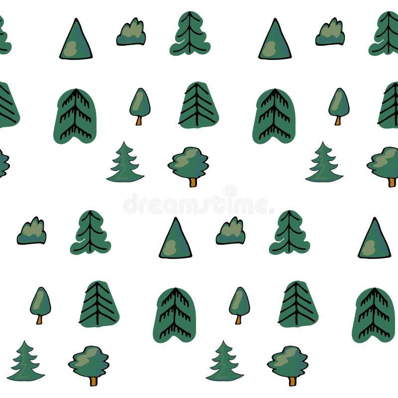 Zielony bezszwowy wzór różni drzewa i krzaki Wektorowa lasowa ilustracja na białym tle Prosta kreskówka ilustracji